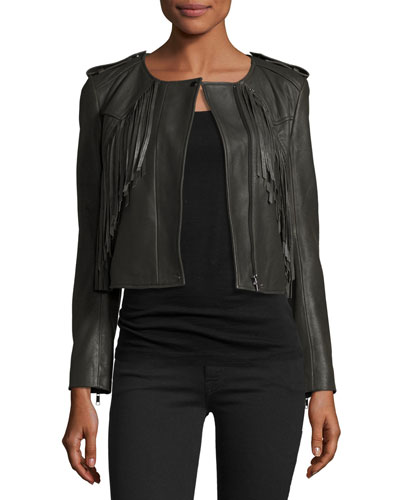 Zeno Cropped Leather Jacket with Fringe, Smokey Ash