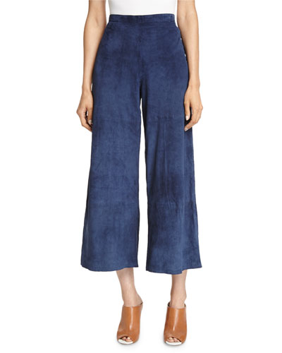 Suede Cropped Wide-Leg Pants, Midnight