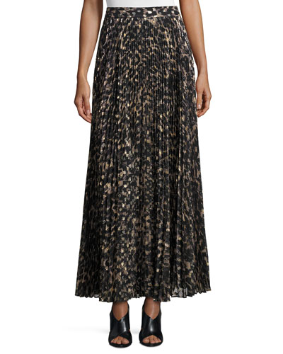 Sunburst Flare Printed Maxi Skirt, Clinton Metallic Leopard