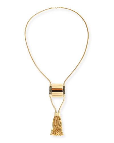 Long Statement Tassel Necklace, Golden