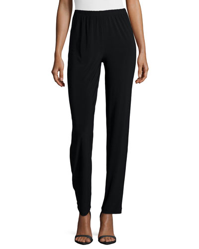 Satin-Back Crepe Slim Pants, Black