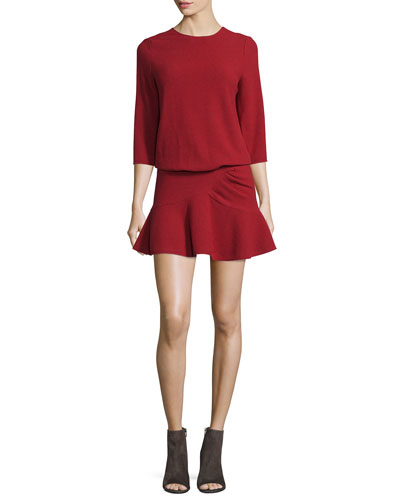Isla 3/4-Sleeve Ruffle-Hem Dress