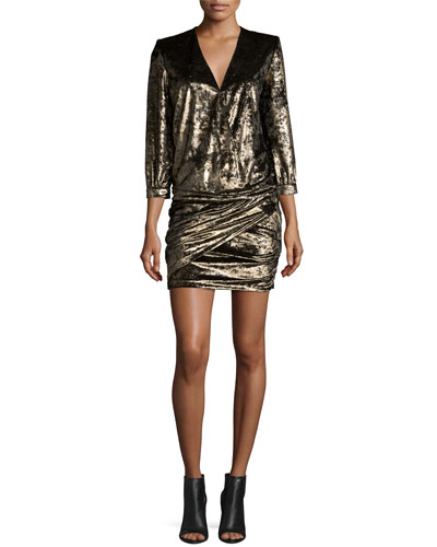 Galaxie Metallic Draped-Front Minidress