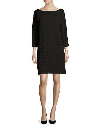 3/4-Sleeve Textured Dot Dress, Plus Size