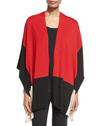Colorblock Cotton Cape, Black/Classic Red