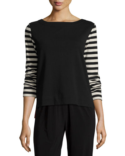 Striped-Sleeve Back-Zip Top, Black/Putty
