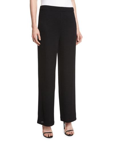 Rochelle Wide-Leg Pants, Black, Petite