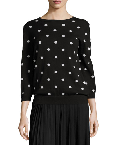Easy Dot 3/4-Sleeve Sweater, Black/Putty