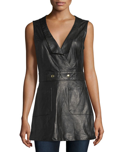 Leather Waistcoat Jumper, Noir