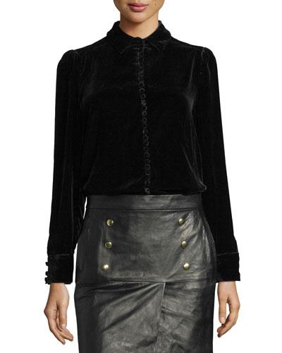 Velvet Victorian Blouse, Black