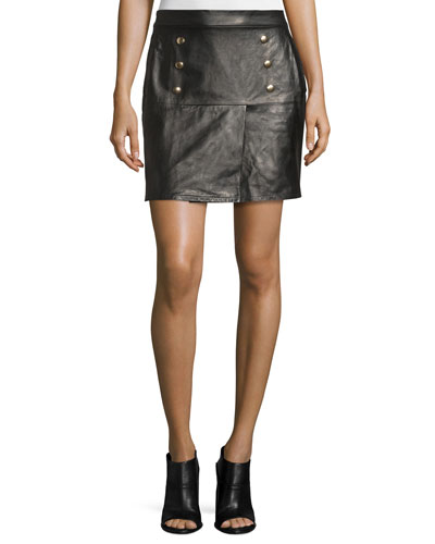 Back Zip Leather Skirt | Neiman Marcus