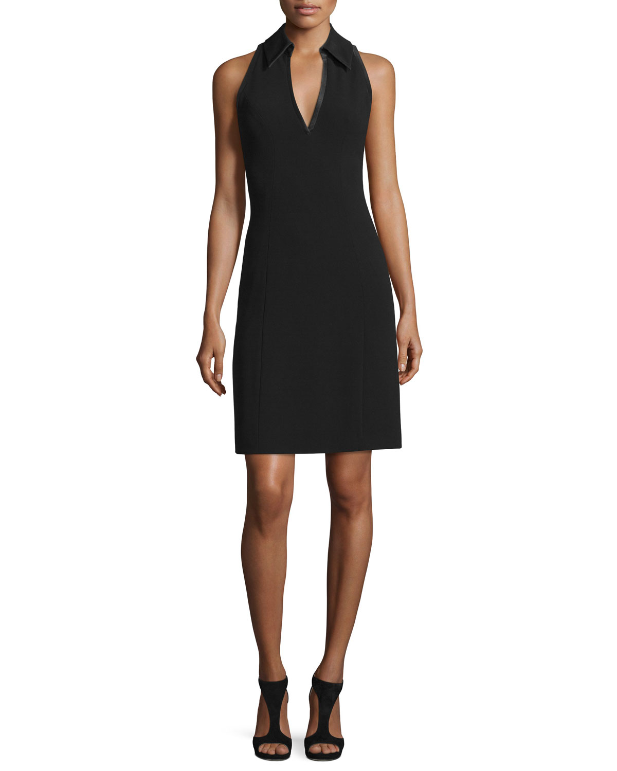 Deep V-Neck Halter Cocktail Dress, Black