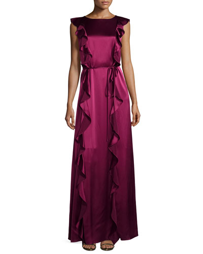 Sleeveless Satin Ruffle Gown, Wineberry