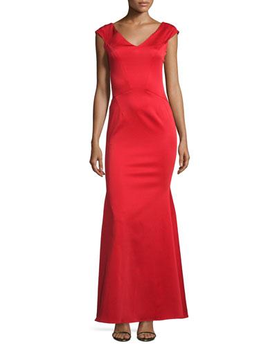 Cap-Sleeve Stretch Satin Gown, Cardinal