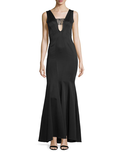 Sleeveless Satin Mermaid Gown, Black