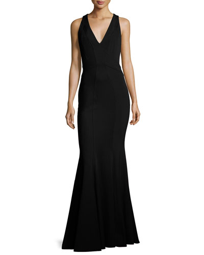 Sleeveless Stretch Jersey Mermaid Gown, Black