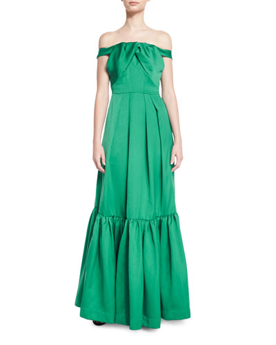 Off-the-Shoulder Satin & Crepe Gown, Emerald