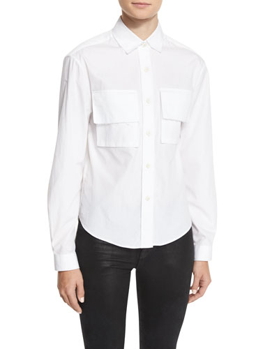 Amber Cotton Poplin Shirt, White