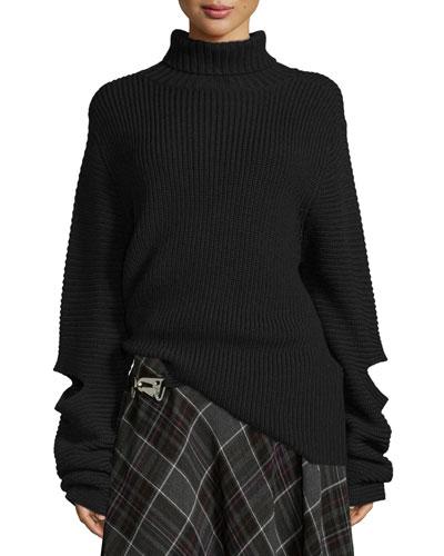 Cutout Oversized Ribbed Sweater, Black