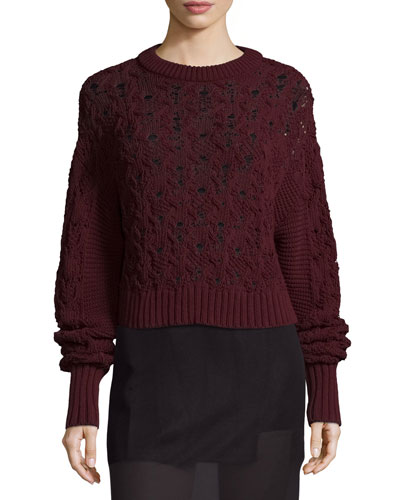 Seed-Stitched Cable-Knit Pullover Sweater, Burgundy