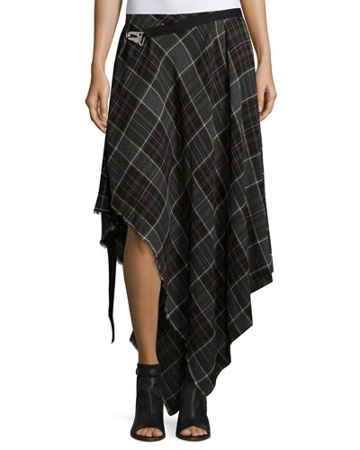 Danen Asymmetric Plaid Skirt, Gray