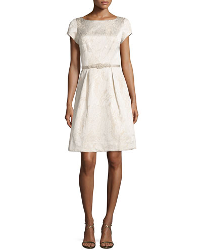 SS Boat Neck Party Dress, Cream