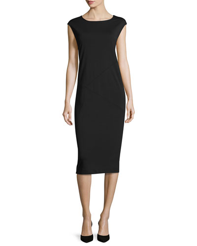 Cap-Sleeve Ponte Knee-Length Dress, Black
