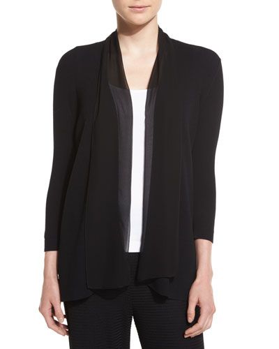 Chiffon-Trim 3/4-Sleeve Cardigan, Plus Size