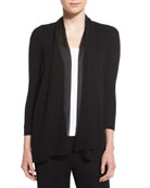 Chiffon-Trim 3/4-Sleeve Cardigan
