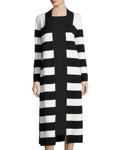 Striped Milano Long Coat, Plus Size