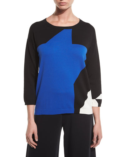 3/4-Sleeve Abstract Star Colorblock Sweater