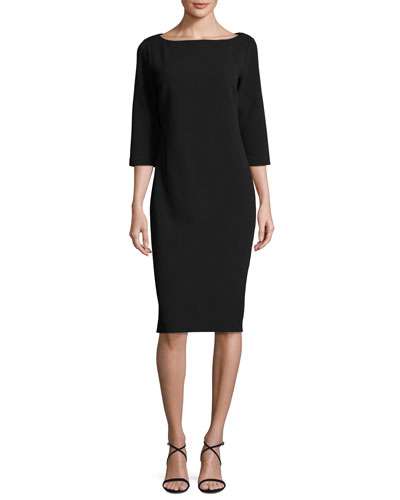 3/4-Sleeve Textured Slim Dress, Black, Plus Size
