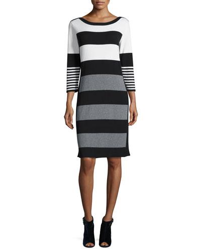 Multi-Stripe 3/4-Sleeve Sweaterdress, Ivory/Gray/Black, Petite