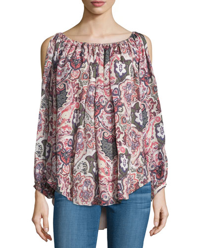 Paisley Cold-Shoulder Keyhole Blouse, Cowboy Take Me Away