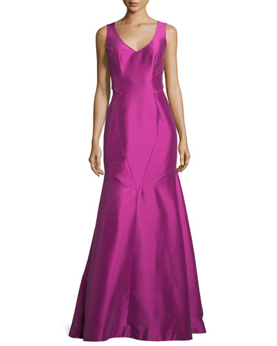 Sleeveless V-Neck Mermaid Gown, Orchid