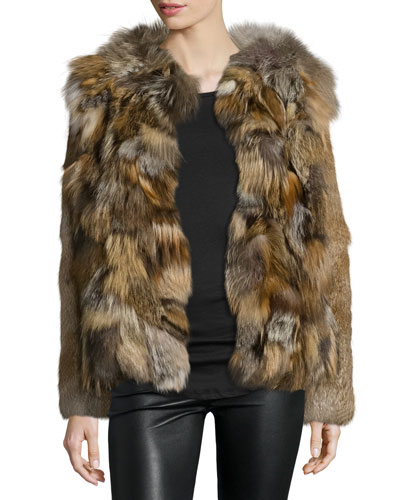 Boxy Rabbit & Fox Fur Jacket