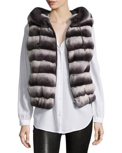 Down Rabbit Fur Vest, Chinchilla