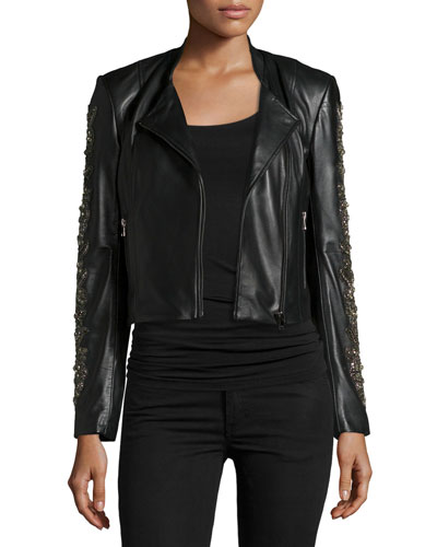 Celend Embellished-Sleeve Leather Jacket