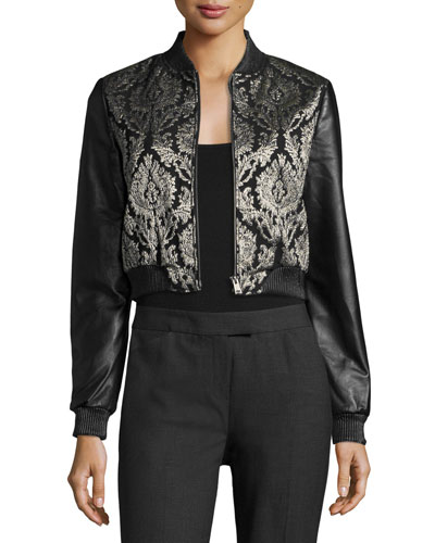 Redell Metallic-Embroidered Leather Bomber Jacket