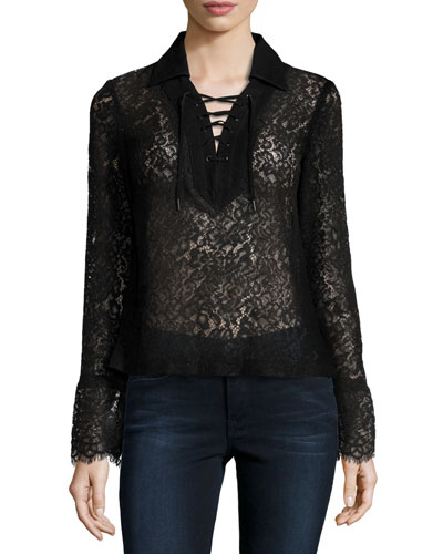 Challie Lace-Up Suede-Trim Top