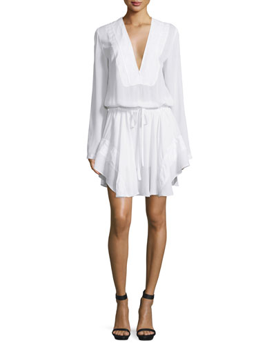 Danielle Long-Sleeve Silk Drawstring Dress, White