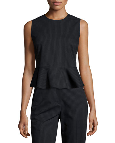 Casara Sleeveless Pinstripe Peplum Top, Navy