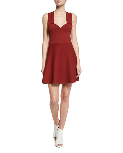 Rada Sleeveless Fit-and-Flare Jersey Dress, Copper