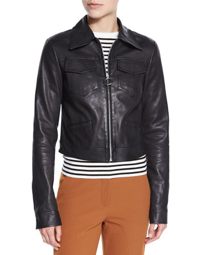 Allen Zip-Front Leather Jacket, Black