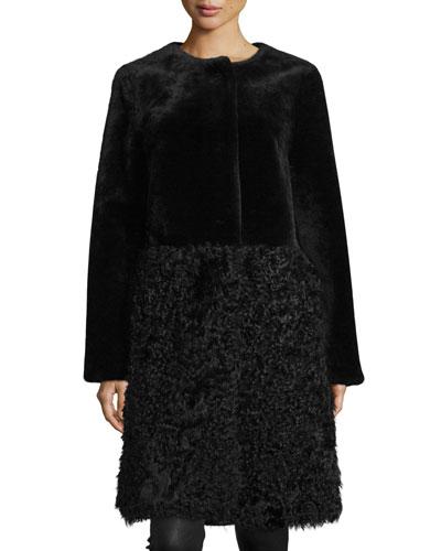 Long Merino & Kalgan Shearling Coat, Black