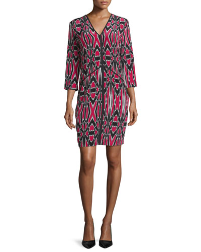 Abstract-Print Silk Dress, Cerise