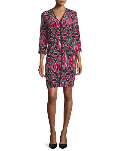 Abstract-Print Silk Dress, Cerise