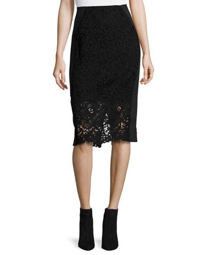 Vien Lace Pencil Skirt, Black/Navy