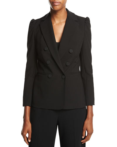 Double-Breasted Suiting Blazer, Black