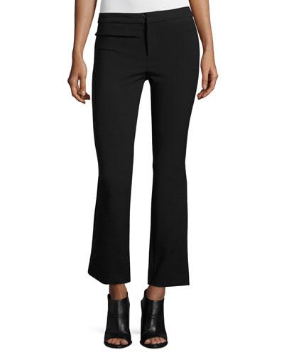 Slim-Fit Flare-Leg Cropped Suit Pants, Black